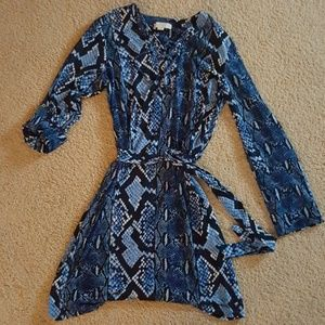 Michael Kors Blue snake print dress